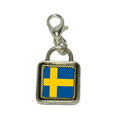 (Flag of Sweden Dangling Bracelet Pendant Square Charm)