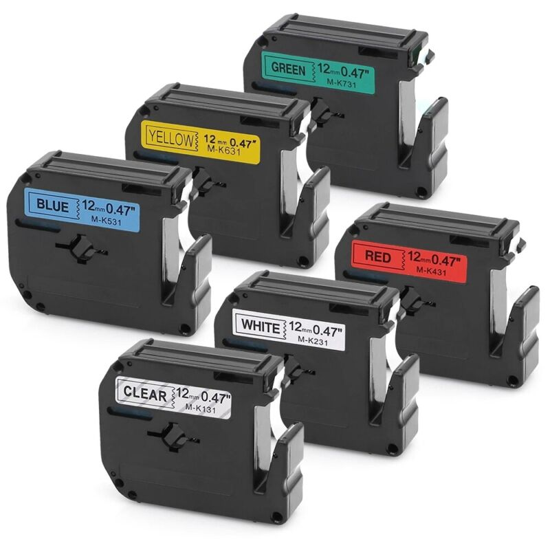 6PK M-K231 M-k131 Fit For Brother P-Touch Label Tape 12mm PT-65 PT-85 PT-70