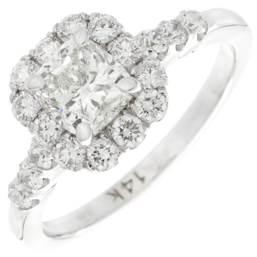GIA Certified Diamond Engagement Ring 1.54 carat Cushion Cut 18k White Gold