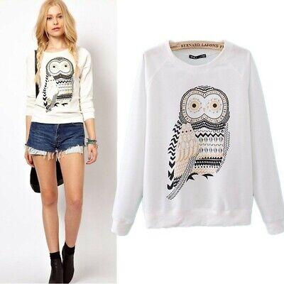 Maglia donna girocollo stampa gufo owl vintage felpa manica lunga Sweatshirt