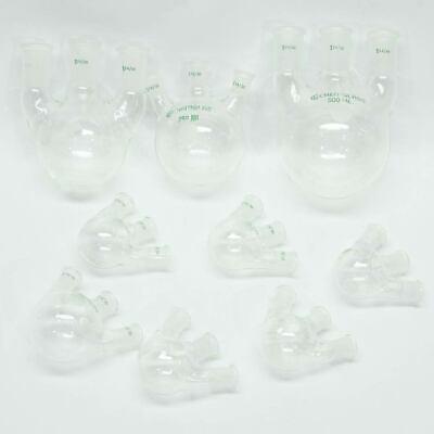 Lot Of 9 Chemglass Three Neck Round Bottom Flasks Lab Glassware 500 250 50 Ml