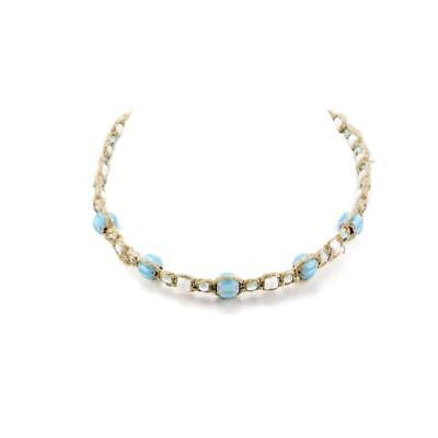 Hemp Choker Necklace With Puka Clam Shell Beads and Light Blue Glass  - Light Blue Beaded Necklace