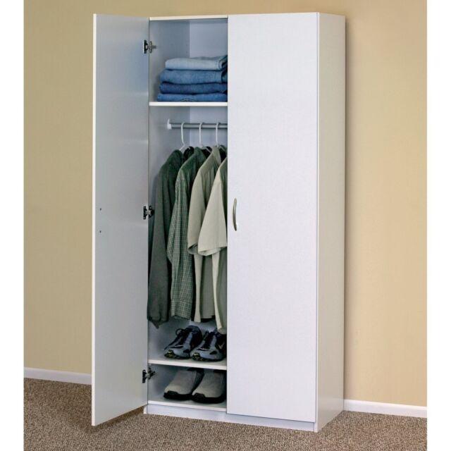 WHITE WARDROBE CABINET Clothing Closet Storage Modern Organizer Bedroom  Shelf - ClosetMaid 30 In. 2-Door Wardrobe Cabinet Clothes Closet White