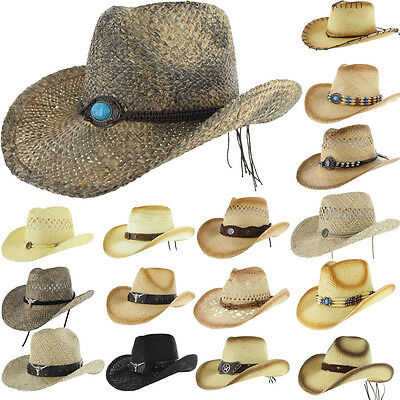 Shapeable Straw - COWBOY Western Shapeable STRAW HAT Panama Cowgirl Raffia Sun Rodeo Concho Cap