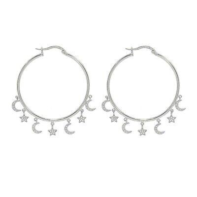 925 Sterling Silver Round Diamond Moon Star Charms Hoop Earrings