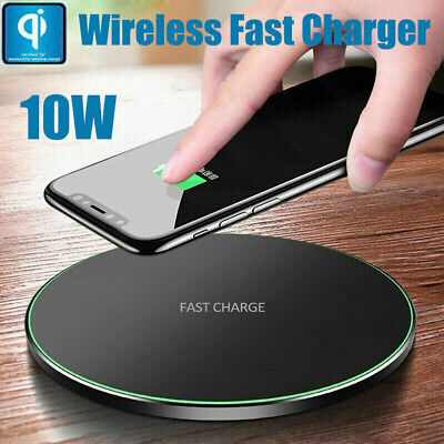 QI Fast Wireless Charger Charging Pad Mat Metal For Apple iPhone X 11 8 Plus UK