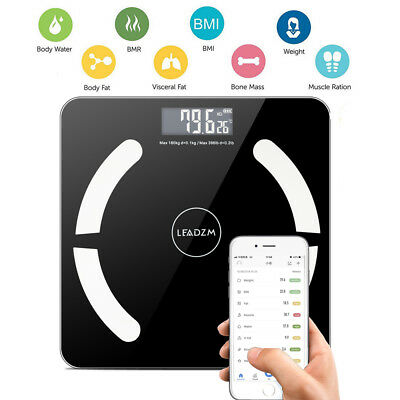 396lb Bluetooth Body Fat Weight Scale LCD Fitness Smart Analyzer APP + Battery