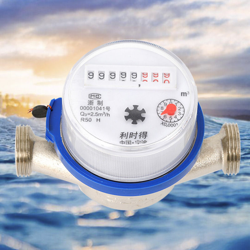 15mm Garden Home Cold Water Meter Single Flow Dry Table Measuring Measure Tool