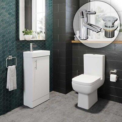 Bathroom Cloakroom Suite Vanity Unit Close Coupled Toilet Basin Tap & Waste Set