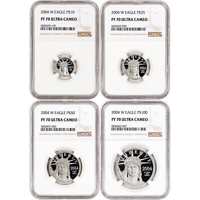 2004 W American Platinum Eagle Proof Four Coin Set NGC PF70 UCAM
