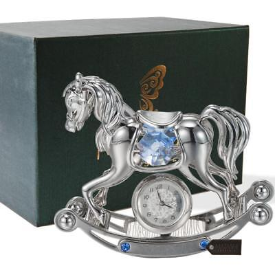 Matashi Chrome Plated Crystal Studded Silver Rocking Horse Desk Clock Ornament Chrome Plated Desk Clock
