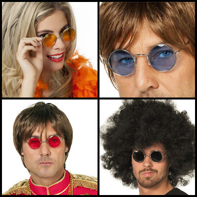 Hippe Brille John 60er 70er Kostümbrille runde Gläser farbig bunt versch. (Runde Kostüme)