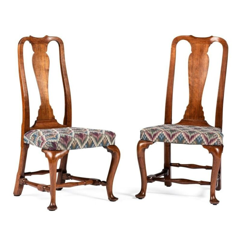 RARE Pair 18th Century ANTIQUE WALNUT BOSTON QUEEN ANNE DINING CHAIRS C.1740-60