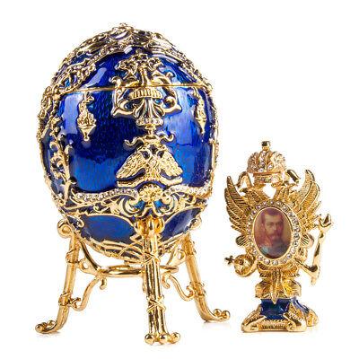 Russian Faberge Egg Replica Music Box Blue Gold Tsarevich Egg on a Stand  (Gold Eggs)