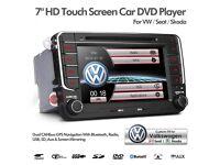 "7"" Car DVD Player Radio GPS Sat Nav Bluetooth USB AUX Stereo VW Golf Seat Skoda Caddy Touran Passat"