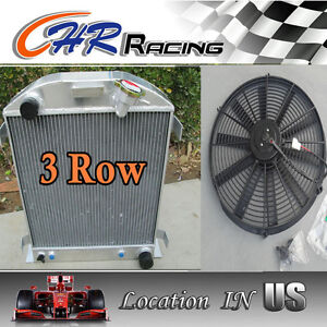 FOR 3 ROW Ford 1932 hot rod w/Chevy 350 V8 engine aluminum radiator and A FAN
