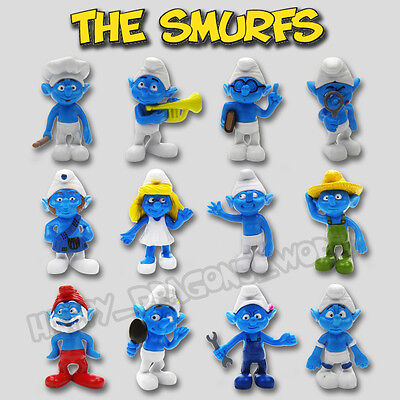 New Set of 12pcs Smurf and Smurfette PVC Action Figure The Smurfs Cute Doll Toy