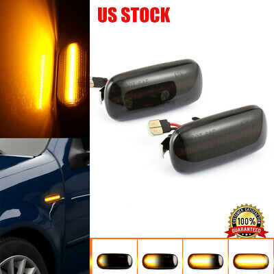 For Audi A4 RS4 2002-2005 S4 B6 Dynamic Smoked Tint LED Side Marker Signal Light