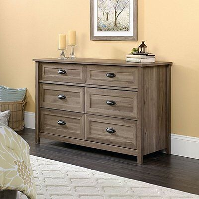 كومودينو جديد Sauder 419320 County Line 6 Drawer Dresser in Salt Oak Finish NEW