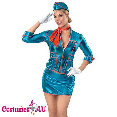 LADIES SECRET WISHES STEWARDESS BABE COSTUME AIR HOSTESS HALLOWEEN FANCY DRESS