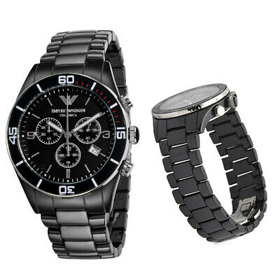 New In Box Emporio Armani AR1421 43mm Men's Ceramic Black Chronograph Dial Watch
