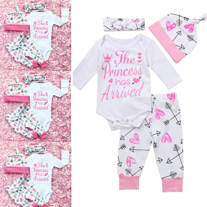 Newborn Baby Girls Clothes Romper Jumpsuit + Floral Pants Leggings Outfit Set