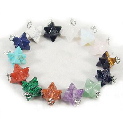 Natural Gemstone Crystal Healing Merkaba Star Stone Energy Pendant Necklace