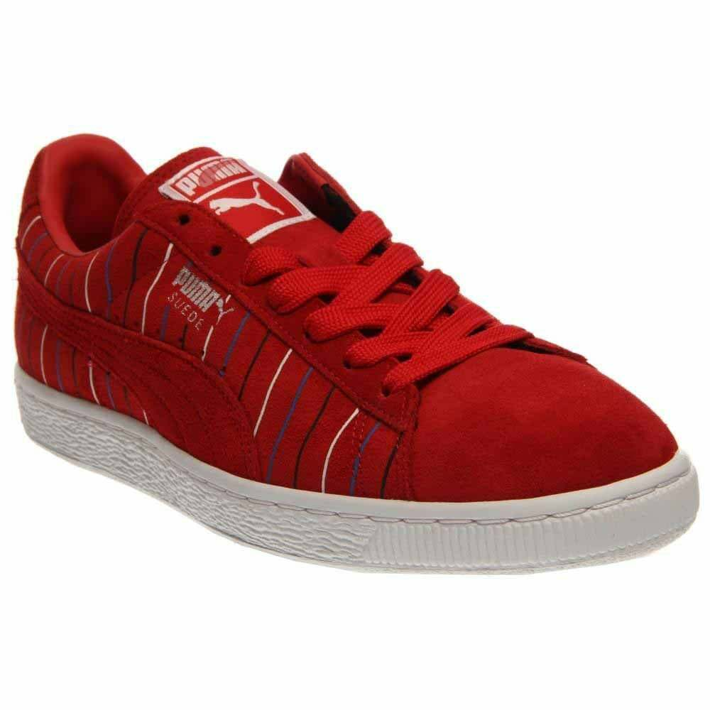 Puma Suede Striped  Casual   Sneakers - Red - Mens