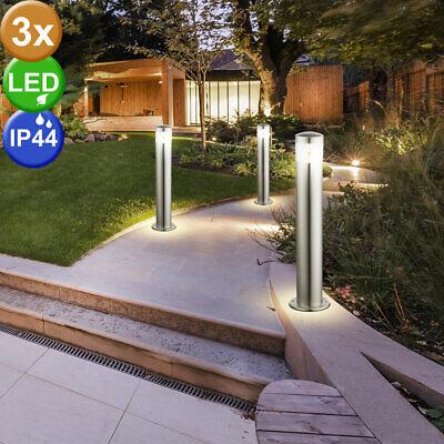 Gebraucht, 3er Set LED Außen Bereich Stand Lampen Balkon Edelstahl Garten Steh Leuchten gebraucht kaufen  Acht