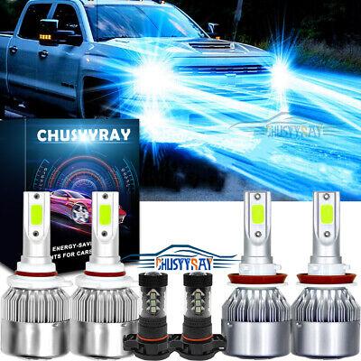 6x 8000K LED Headlight + Fog Light Bulbs For Chevy Silverado 1500 2500 2007-2015