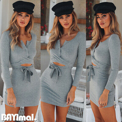 Womens Hollow Belted Long Sleeve Mini Dress Ladies Casual Party Bodycon Dresses