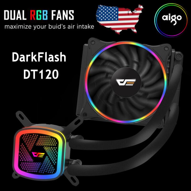 Aigo darkFlash DT120 Computer PC CPU Water Cooler 120mm RGB Radiator Fan Cooling