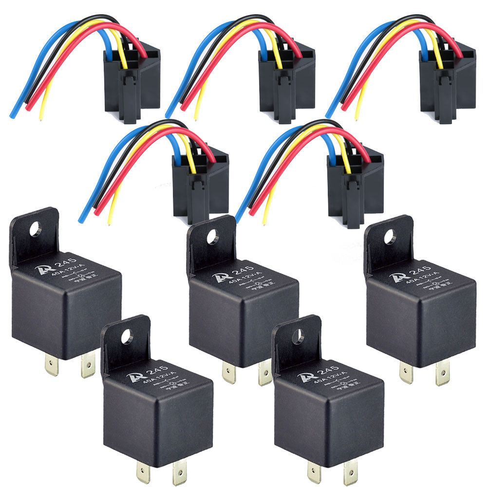 Car Electronics Alarms Security Relays Sensors On Auto Parts Log Spst Relay Normally Closed 5pack 12v 40a 40 A Socket 4pin 4p 4 Wire Black For