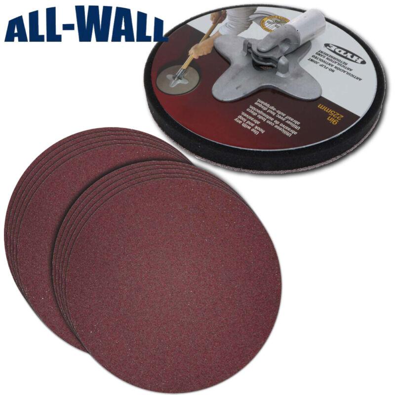 "Hyde 9"" Round No-Flip Drywall Pole Sander Head + 10 Med/Fine Discs"