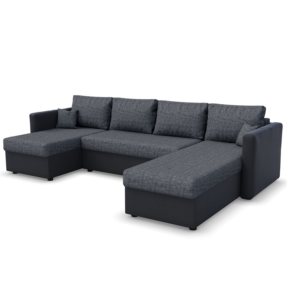 vicco xxl sofa mit schlaffunktion schwarz couch ecksofa schlafsofa polstereck eur 589 90. Black Bedroom Furniture Sets. Home Design Ideas