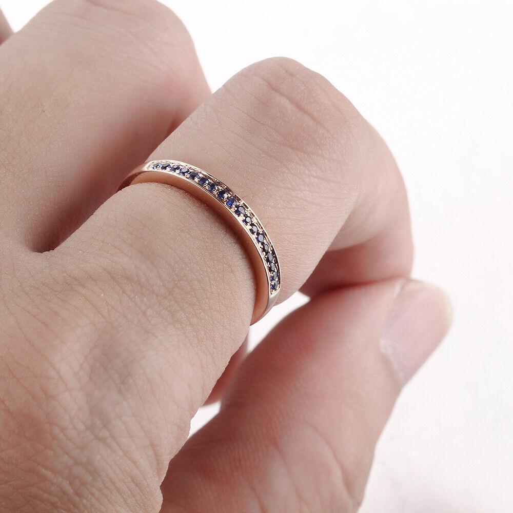 Solid 10K Rose Gold Engagement Weddding Ring Fine Gem Sapphires ...