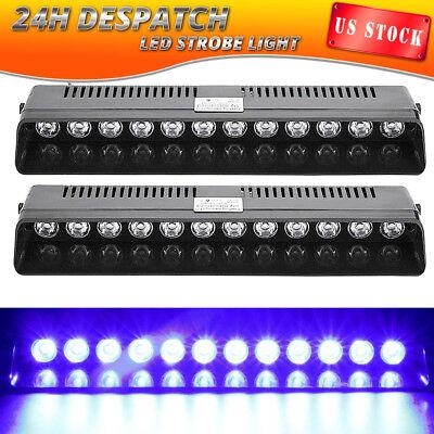 2X 12 LED Emergency Warning Strobe Light Bar Beacon Visor Dash Deck Hazard BLUE