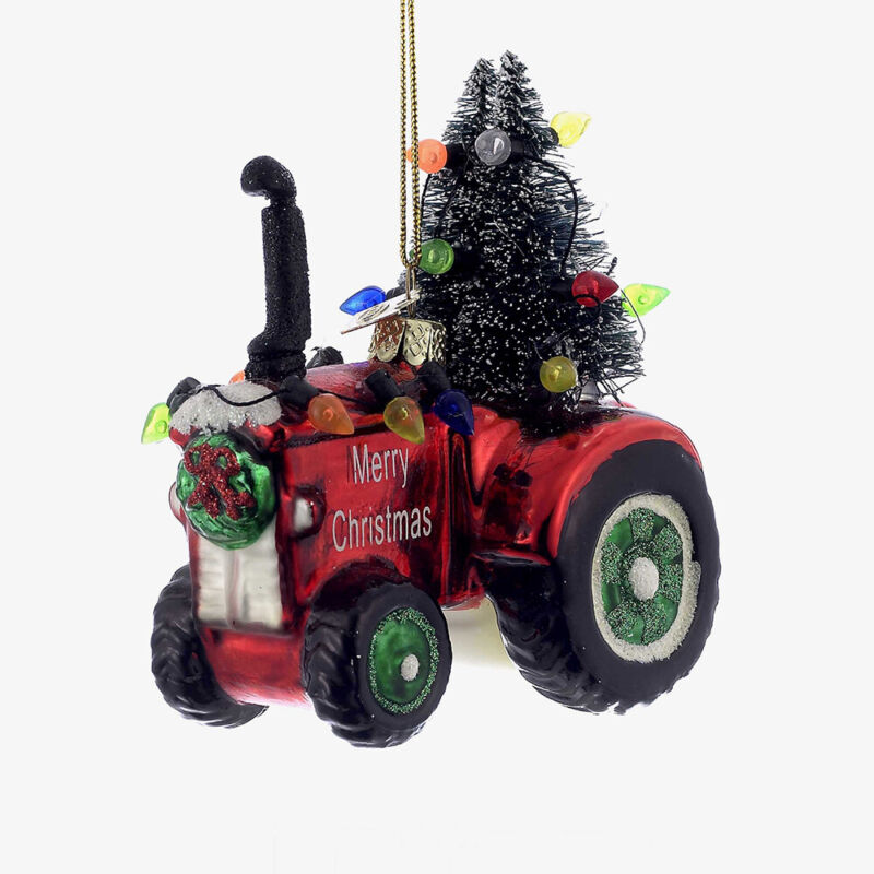 Noble Gems Red Tractor Glass Christmas Tree Ornament NB0884 New
