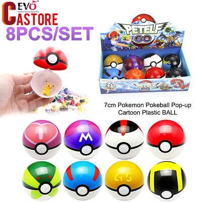 8pcs/set Pokemon Pokeball Pop-up 7cm Plastic Ball Toy Pocket Monster Games