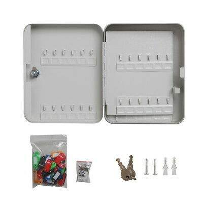 Solid Steel 48 Hook Key Safe Box Wtag Lock Storage Case Cabinet Wall Mount Home