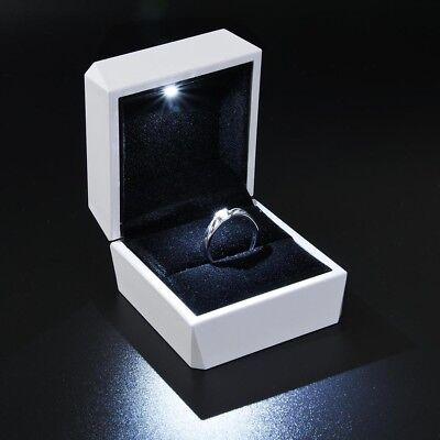 Diamond Ring Box White LED Light Velvet Jewelry Gift Wedding Proposal - Velvet Jewelry Ring