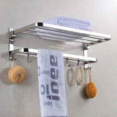 Wall Mounted Towel Rack Holder Hook Hanger Shelf Bathroom Ho