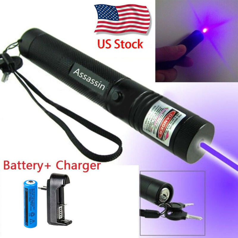 900miles Blue Purple Laser Pointer Pen Focus/Zoom Beam Lazer +Charger +Battery