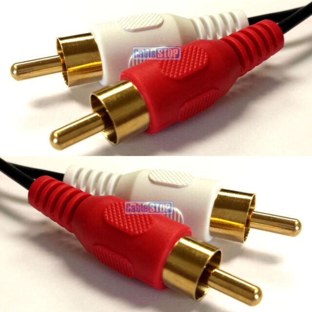 1.5m Twin RED WHITE 2x RCA PHONO Audio LEFT RIGHT Cable Male to Male Lead GOLD