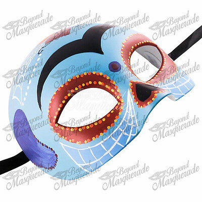 Cool Halloween Designs (Day of the Dead Skeleton Half Skull Face Masquerade Mask Cool Blue)