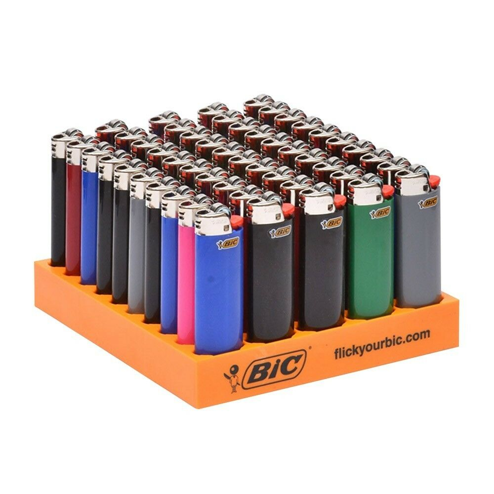 50 BIC Classic Full Size Disposable Lighters With Tray Assorted Colors Wholesale