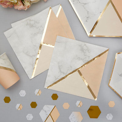16 x Luxury Peach Marble Paper Napkins Gold Foil Finish (Peach Paper Napkins)