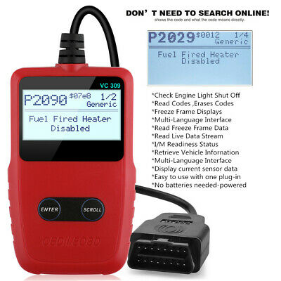 Universal Car OBDII Code Reader Scanner Check Engine Fault Light Diagnostic