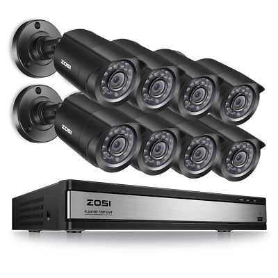 - ZOSI 16 CH Channel 720P DVR (8) 1500TVL Surveillance Security Camera System US