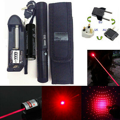 Red 5mW 650nm Laser Pointer Pen Light 303 Visible Beam + 18650 Battery&Charger